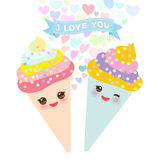 I love you Card design with Kawaii Ice cream waffle cone funny muzzle with pink cheeks and winking eyes, pastel colors on white ba Stock Image