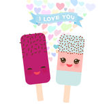 I love you Card design with Kawaii mint, raspberry and pomegranate Ice cream, ice lolly with pink cheeks and winking eyes, pastel Royalty Free Stock Photos