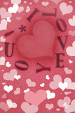 I Love You! Card filled with Hearts. The words I Love You! arranged in a heart shape in tones of red and filled with different sized hearts Stock Photo