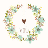 I love you card with floral wreath Royalty Free Stock Image