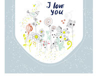 I love you card with flowers and birds Royalty Free Stock Photos