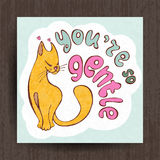 I love you card, greetings with cute animals, cartooning cat Royalty Free Stock Photos