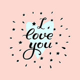 I love you. Card with hand drawn lettering. Hand drawn design elements. Handwritten decorative illustration. Royalty Free Stock Image