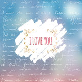 I Love You card with hand written text of poem by Stock Photos
