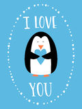 I love you card for Happy Valentines Day. Cute penguin holding heart. Hand drawn words. Royalty Free Stock Photos