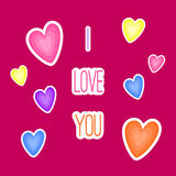 I love you card with hearts. Cartoon style, flat design. Royalty Free Stock Image