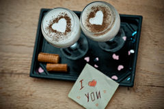 I love you card with milk dessert ,Valentines concept. Royalty Free Stock Image