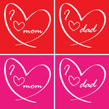I love you card - mom and dad Stock Images