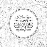 I love you card. Over roses pattern. Stock Photography