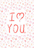 I love you, card with pink heards Stock Photography