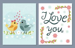 I love you card set with cute birds and flowers Stock Photo