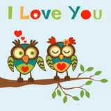 I love you card with two  owls Royalty Free Stock Photos