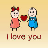 I love you, card for Valentine`s Day February 14th, banner, poster,  confession. Stock Image
