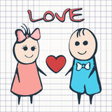 I love you, card for Valentine`s Day February 14th. Cartoon lovers boy and girl with heart  Royalty Free Stock Photos