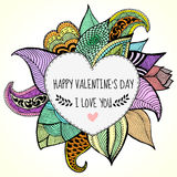 I love you card for valentines day. Hand drawn floral design with hear frame royalty free stock images
