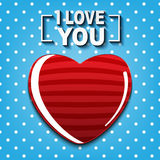 I Love you card with white dot on blue background concept design Royalty Free Stock Photos