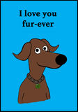 I Love You. Cartoon illustration of a brown dog and a pun on `love Stock Photo