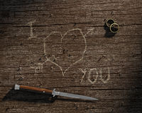 I love you carved on wood Royalty Free Stock Photos