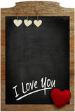 I Love You Chalkboard White hearts hanging on wooden frame with Royalty Free Stock Photo
