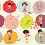I love you children. Abstract background with illustrations or drawings of children and the words I love you Stock Photos