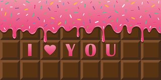 I love you chocolate bar with pink melting glaze and colorful sprinkles stock illustration
