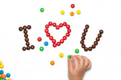 I LOVE YOU of the chocolate coated candy Stock Photography