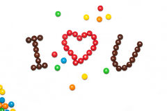 I LOVE YOU of the chocolate coated candy Royalty Free Stock Photos
