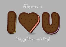 I love you. Chocolate cookies. Big heart, letters I and U. My sweetie, Happy Valentines Day. Vector Illustration Stock Photos