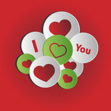 I Love You. Circle with hearts Stock Image
