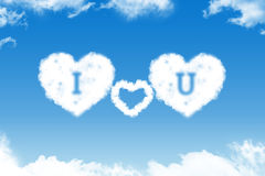 I love you - cloud text. On blue sky Royalty Free Stock Images