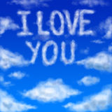 I Love You - clouds concept. Digital painting - sky background with I LOVE YOU text Royalty Free Stock Photo