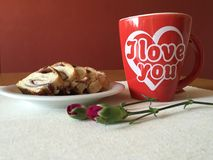 I love you. Coffee with cakes and little flowers Stock Photography