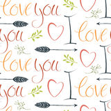 I love you colorful background with hearts and arrows Royalty Free Stock Photography