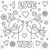I Love You. Coloring page. Black and white vector illustration. I Love You. Coloring page. Black and white vector illustration of birds royalty free illustration