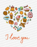 I love you concept card with desserts composed in a shape of a heart Royalty Free Stock Photo