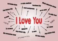 I love you Concept. Chart with text in different languages. Communication and love background Stock Photos