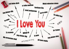 I love you Concept. Chart with text in different languages. Communication and love background Stock Images