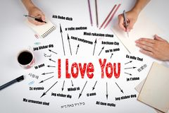 I love you Concept. Chart with text in different languages Stock Photos