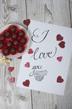I love you concept with glittered hearts Royalty Free Stock Image