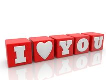 I love you concept on red cubes. In backgrounds Stock Photos