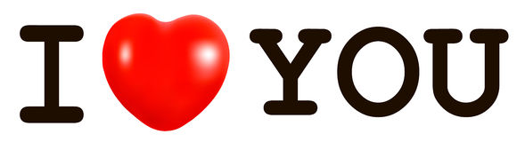 I Love You concept with a red heart. Stock Photography