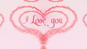 I love you Love confession. Valentine`s Day heart made of pink splash isolated on light pink background. Share love. Holiday card. Love proposal. Pink heart royalty free stock photos