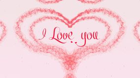 I love you Love confession. Valentine`s Day heart made of pink splash isolated on light pink background. Share love. Holiday card. Love proposal. Pink heart stock photos