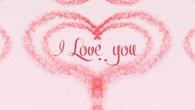 I love you Love confession. Valentine`s Day heart made of pink splash isolated on light pink background. Share love. Holiday card. Love proposal. Pink heart stock photo