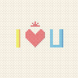 I love you on cross stitch style Royalty Free Stock Image