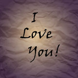 I love you. Crumpled paper. Valentine's Day card. Love design Royalty Free Stock Photography
