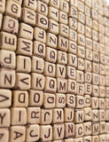 I LOVE YOU from the cubes in the array of letters Stock Photography