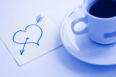 I love you. Cup of coffee and heart drawing on a table stock photography