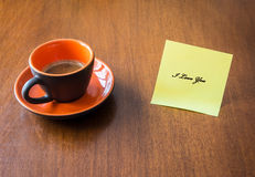 I love You. A cup of coffee with a message of love Stock Images