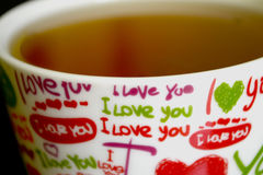 `I love you` cup. Cup with marks `I love you Stock Photography